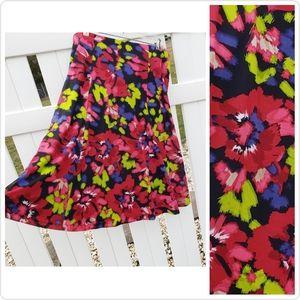 🆕 Jones NY Pink Green Floral Spring Midi Skirt